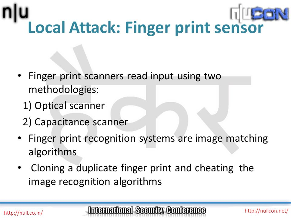 Local Attack: Finger print sensor