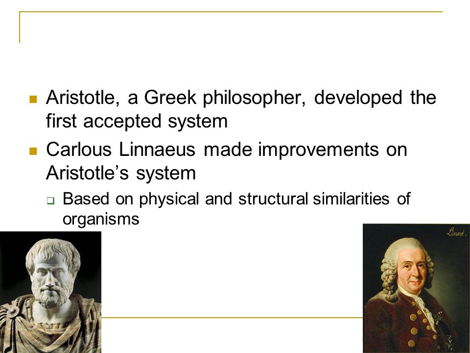 Aristotle, a Greek philosopher, developed the first accepted system