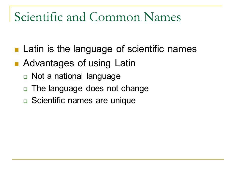 Scientific and Common Names