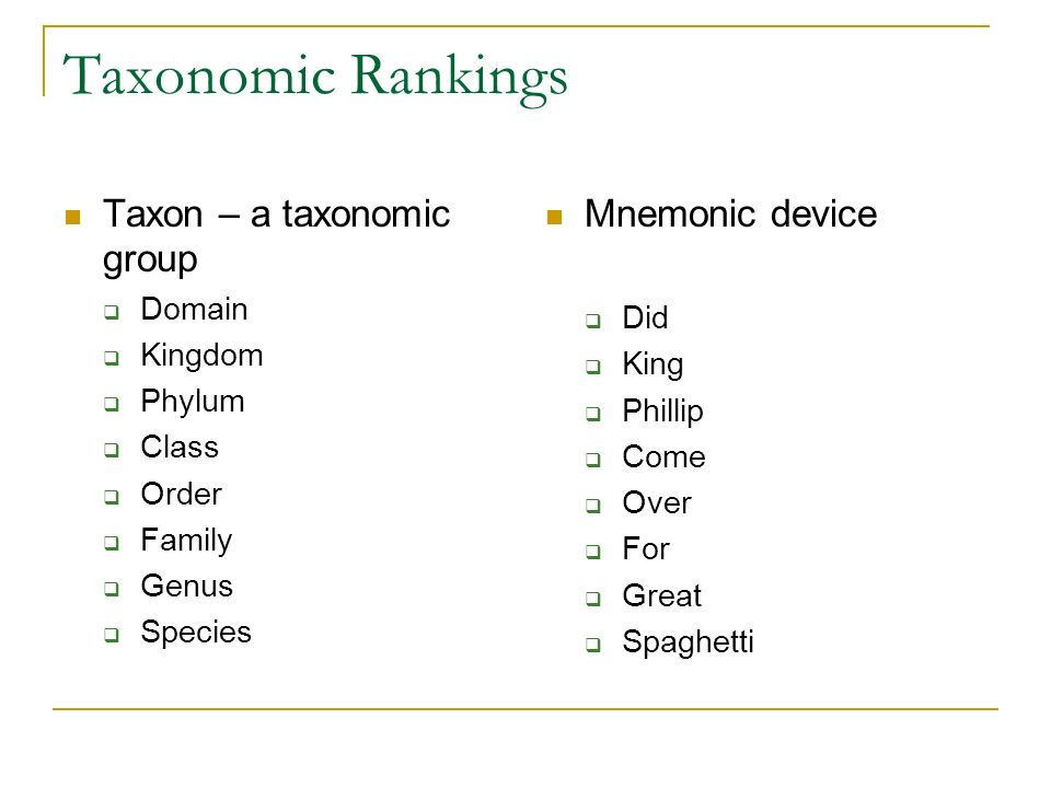 Taxonomic Rankings Taxon – a taxonomic group Mnemonic device Domain