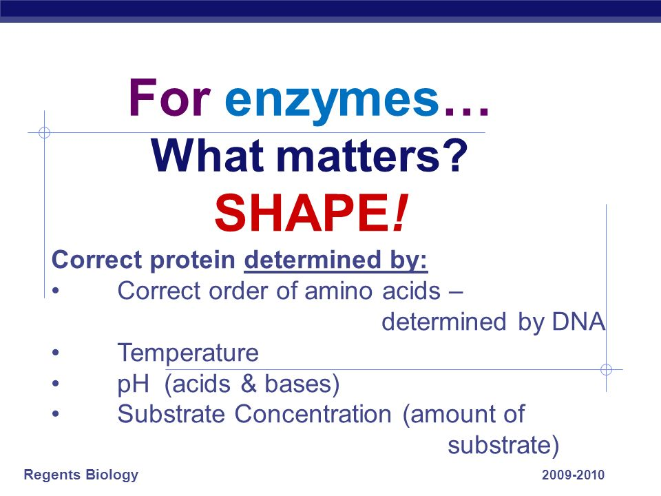 For enzymes… What matters