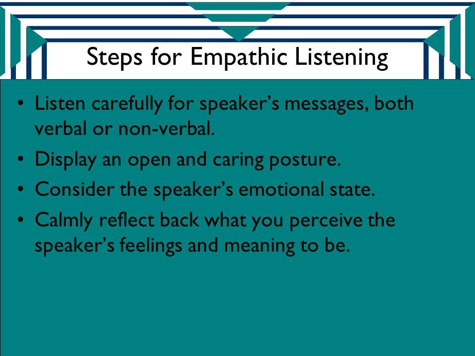 Steps for Empathic Listening