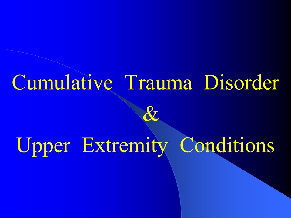 an analysis of the cumulative trauma disorder ctd A cumulative trauma disorder, also known as ctd, is defined as the excessive  wear and tear on tendons, muscles and sensitive nerve tissue.