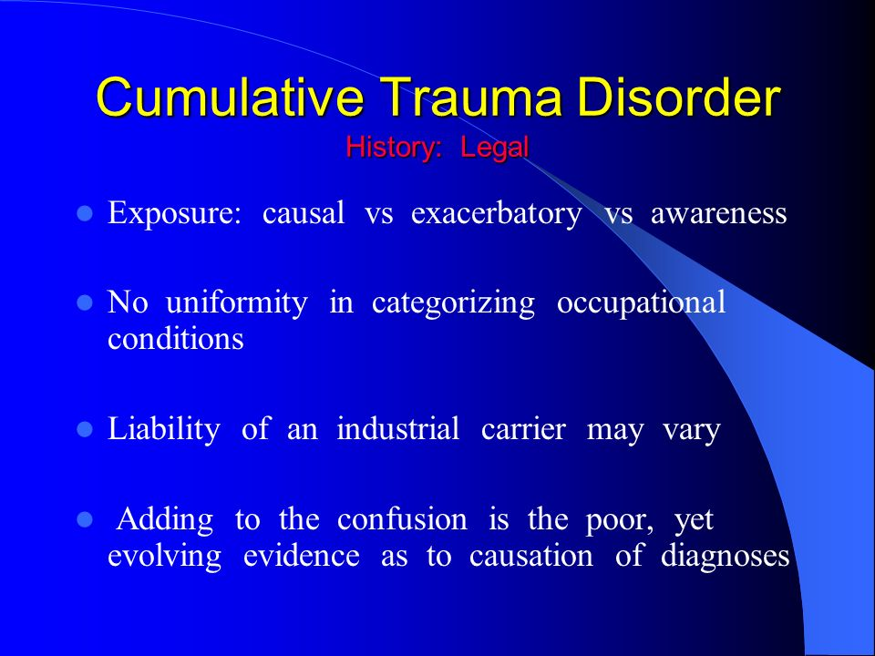 an analysis of the cumulative trauma disorder ctd Cumulative trauma disorder (ctd) is an injury to the musculoskeletal and nervous systems, often caused by repetitive tasks, forceful exertions, or sustained awkward .