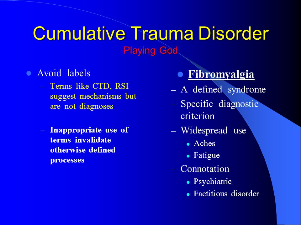 the description of cumulative trauma disorder ctd Ctd (cumulative trauma disorder) posted on 6th november 2015 18th november 2017 by thepd a cumulative trauma disorder, also known as ctd , is defined as the excessive wear and tear on tendons, muscles and sensitive nerve tissue caused by continuous use over an extended period of time.