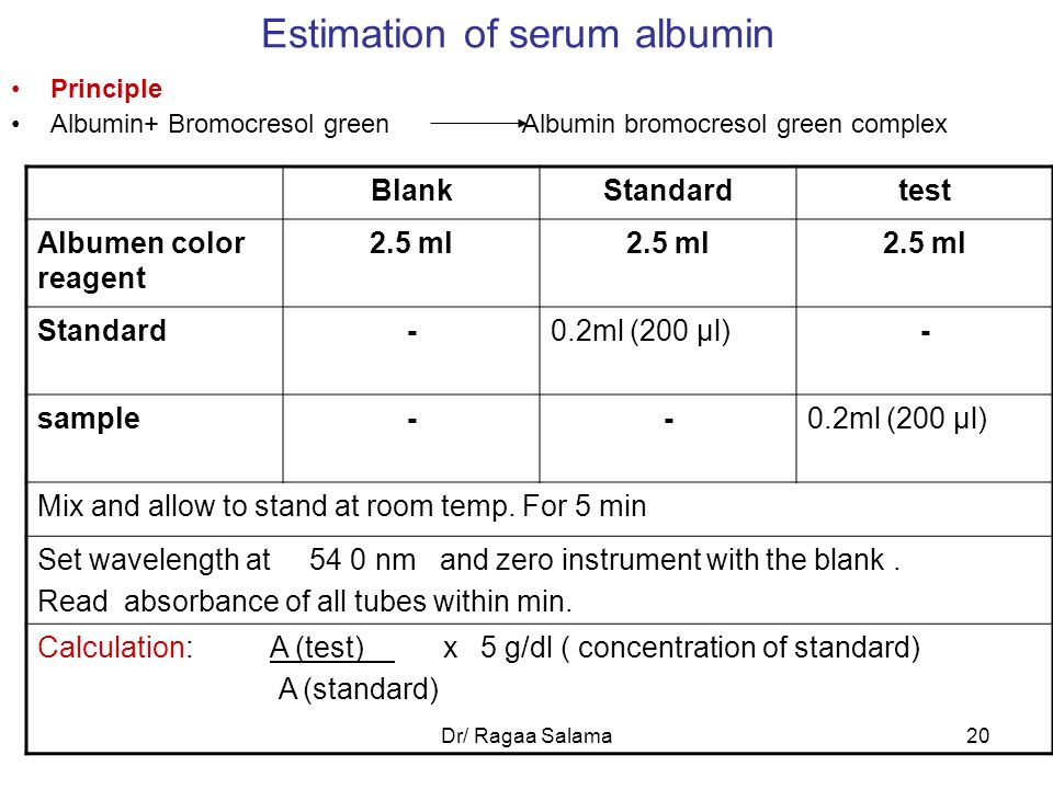 Estimation of serum albumin
