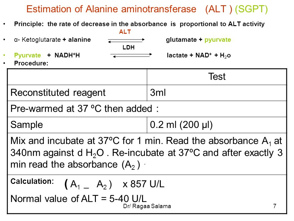 Estimation of Alanine aminotransferase (ALT ) (SGPT)