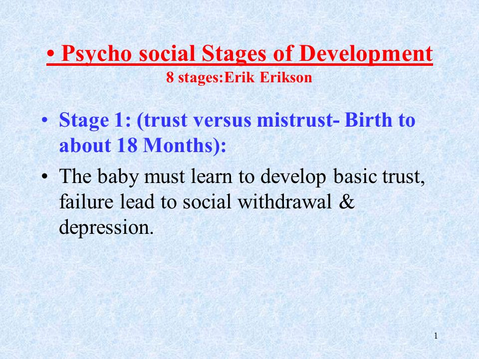 Psycho Social Stages Of Development 8 Stages Erik Erikson Ppt