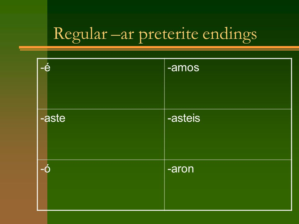 Regular –ar preterite endings