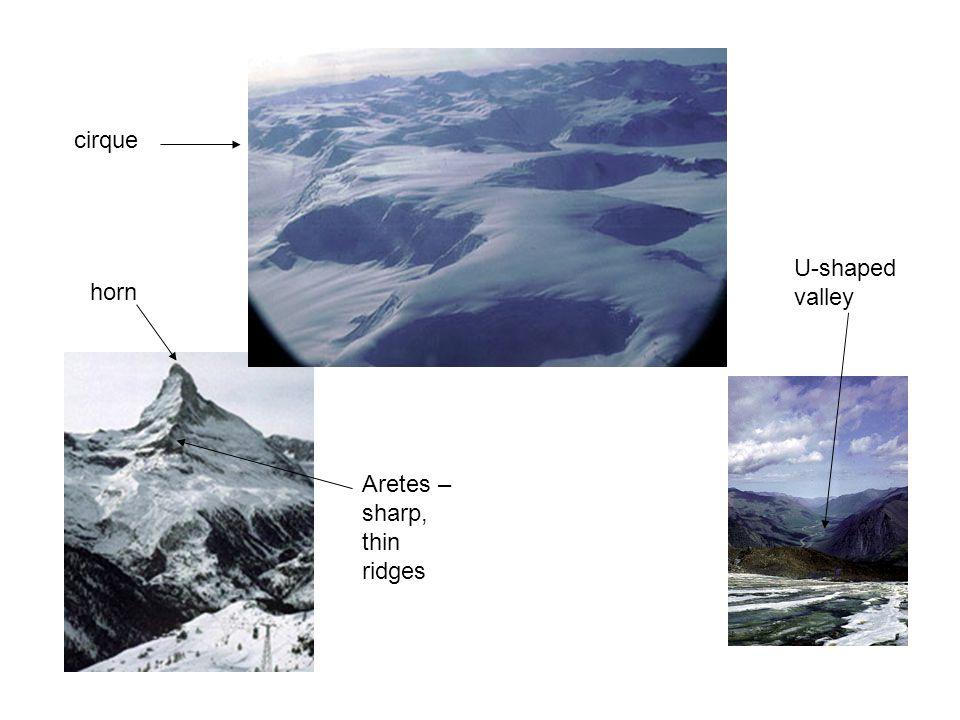 cirque U-shaped valley horn Aretes – sharp, thin ridges