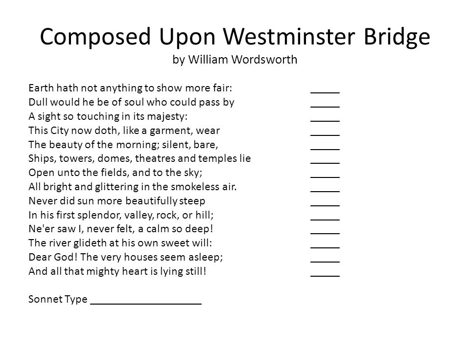 essays on composed upon a westminster bridge The era - napoleonic era • the poem, composed upon westminster bridge, was written on the 3rd of september in the year 1803, the day westminster bridge was opened to the public at the very start of the napoleonic era the napoleonic era is a period of history in france and the rest of.