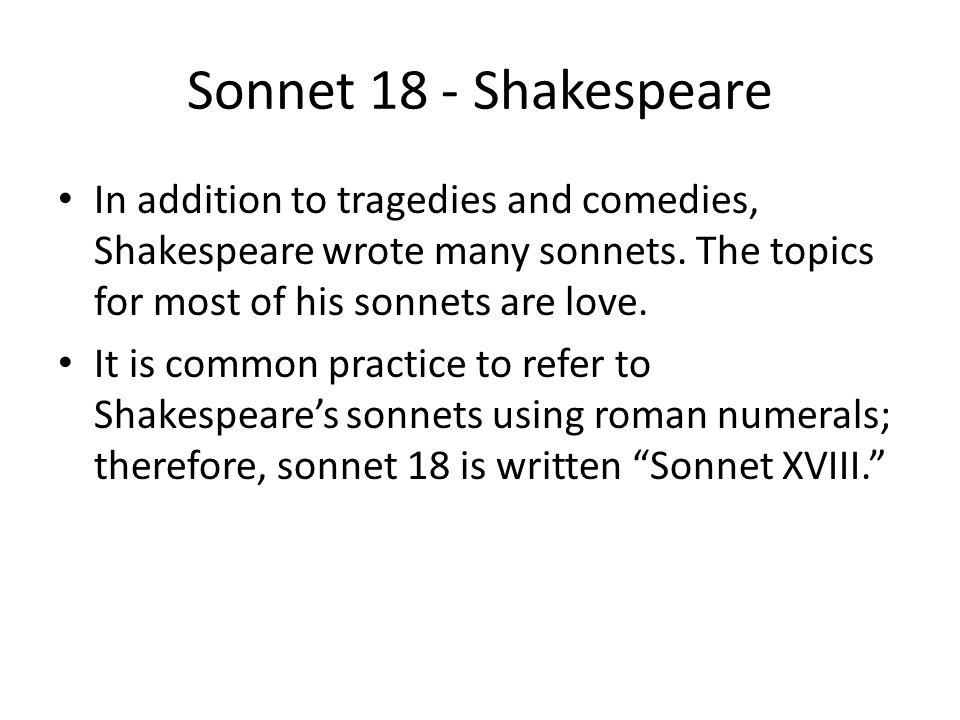 The Sonnet Objectives: SWBATD … - ppt download