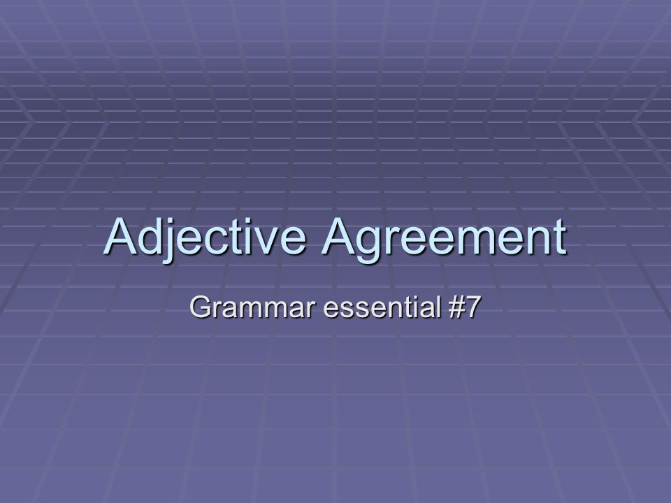 Adjective Agreement Grammar essential #7