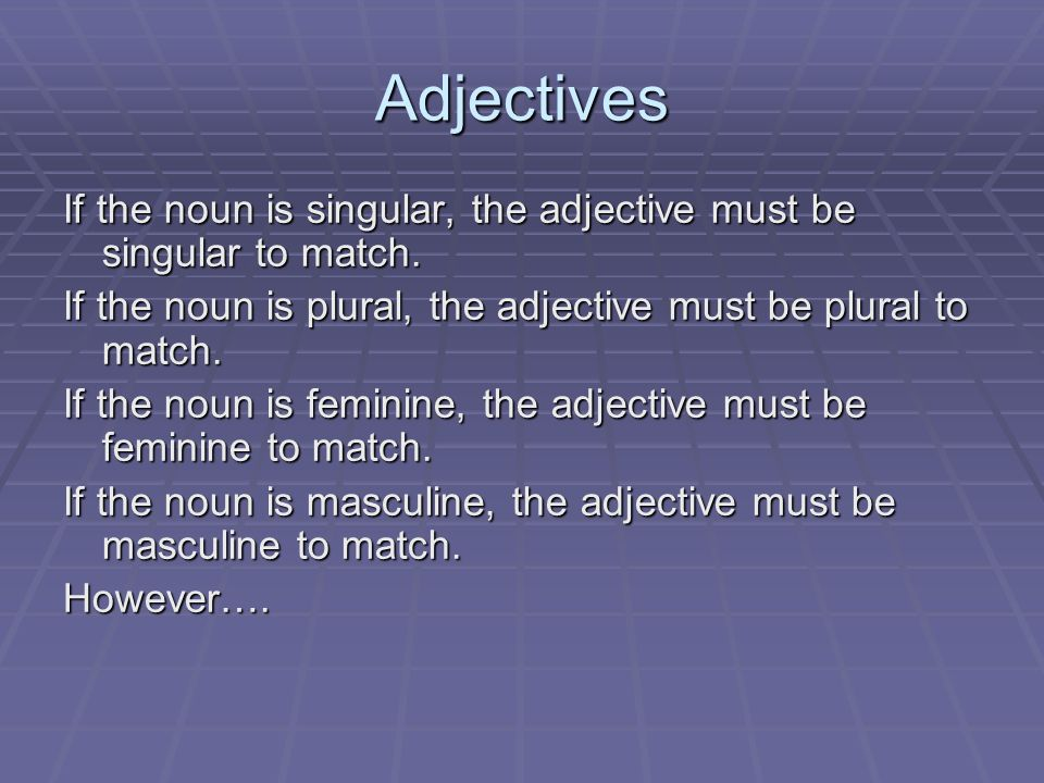 Adjectives If the noun is singular, the adjective must be singular to match. If the noun is plural, the adjective must be plural to match.