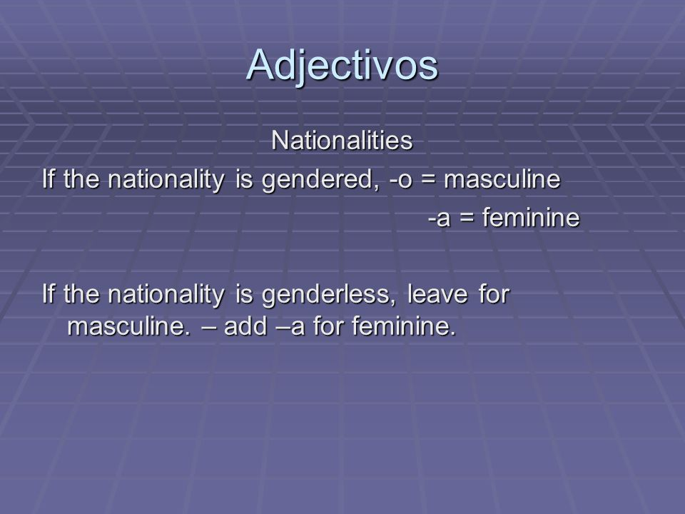 Adjectivos Nationalities