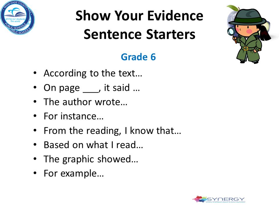 Show Your Evidence Sentence Starters