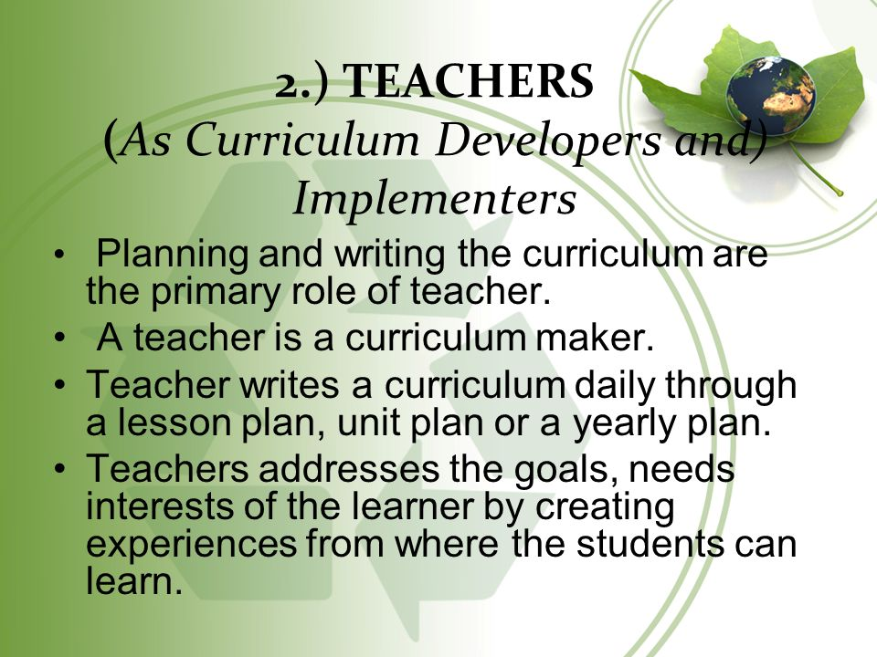 curriculums role in education Roles and responsibilities teaching service education support class supervision and coordination of the work of senior curriculum or level coordinators.