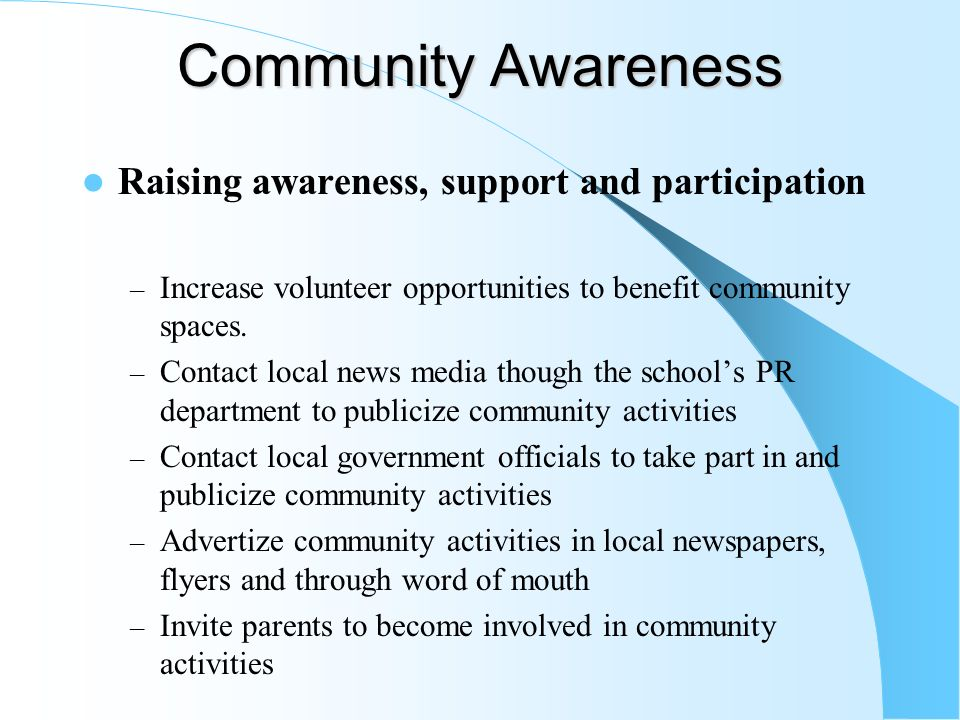 community awareness Addressing community health needs ideas into action organize speaker for community senior group to raise awareness of diabetes, serve a healthy meal.