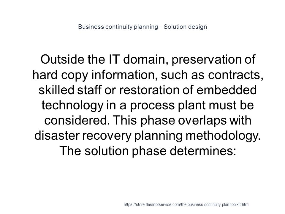 business continuity preparation toolkit