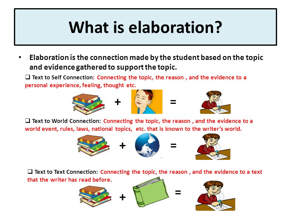 Where are explanation and elaboration used in an essay