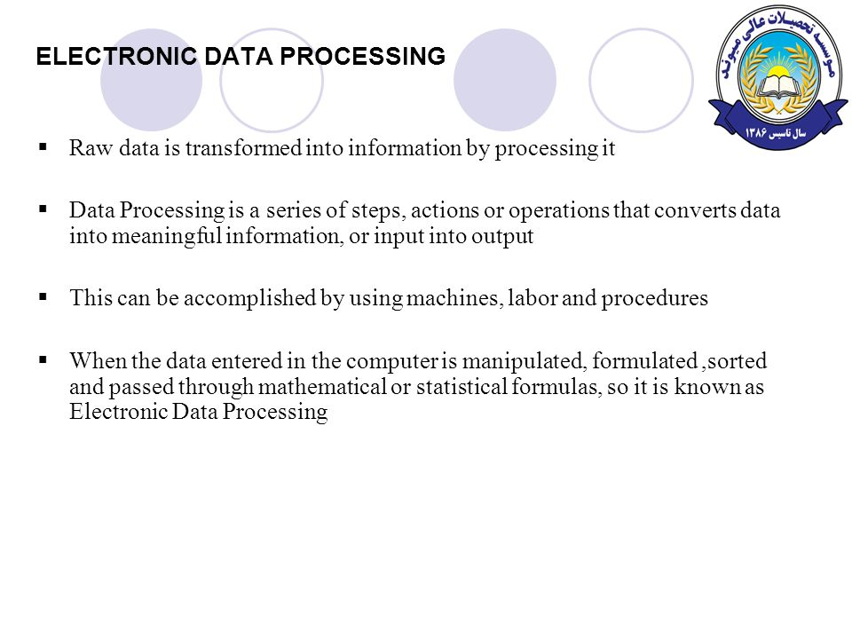 electronic data processing edp Definition of electronic data processing (edp): use of computers in recording, classifying, manipulating, and summarizing data also called automatic data processing, data processing, or information processing.