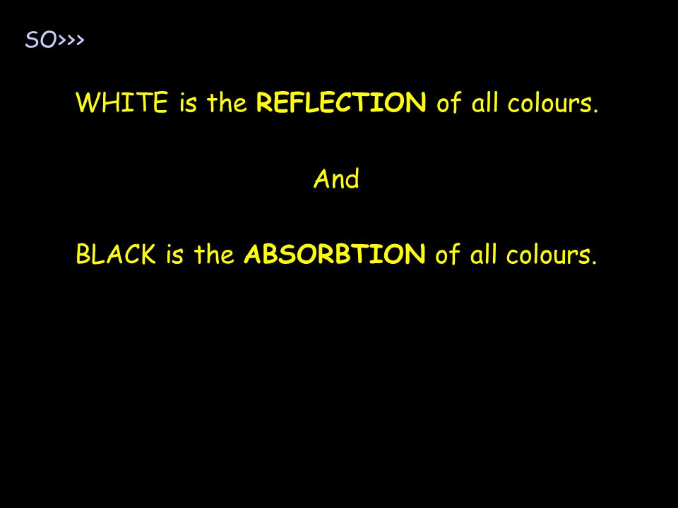 WHITE is the REFLECTION of all colours. And