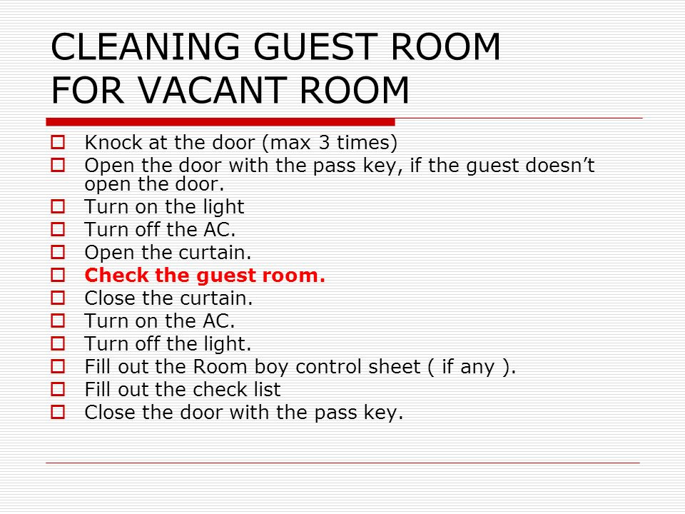 Cleaning guest room pertemuan 5 ppt video online download cleaning guest room for vacant room ccuart Images