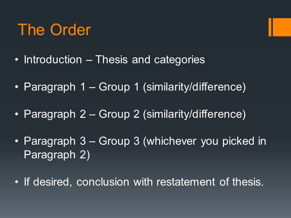 Thesis order categories
