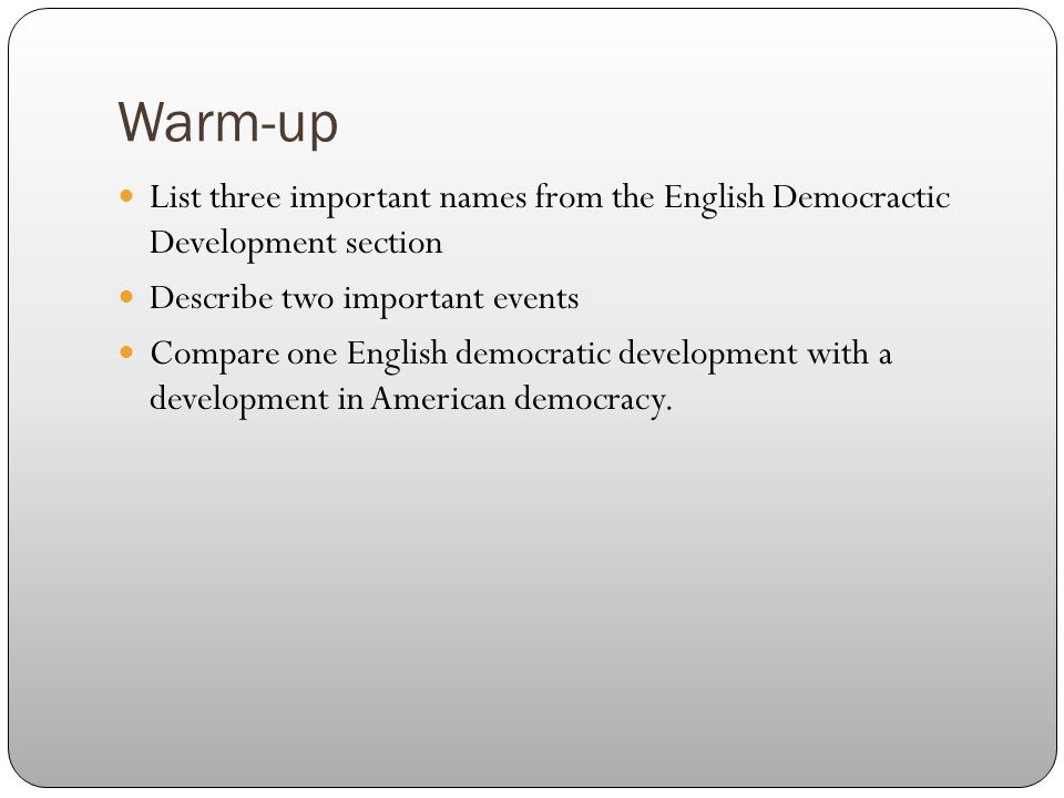 a comparison of the development of democracy in america and england Democracy is an ideal while the other two struggle with both dictatorships and democracy post world war ii: latin america: a simple comparison on procuring a.
