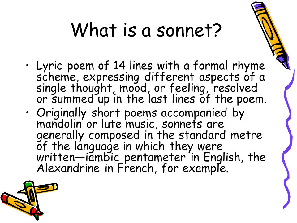 what is a sonnet lyric poem of 14 lines with a formal