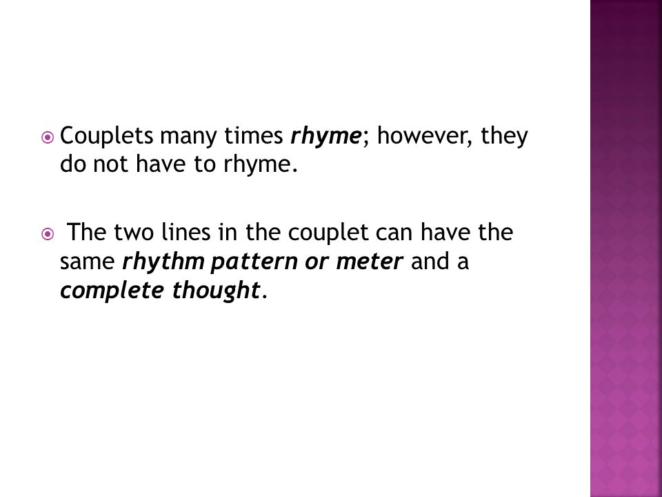 Couplets how to write