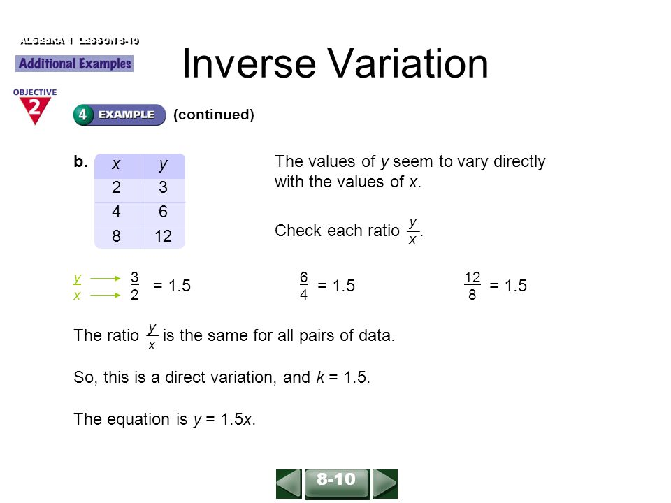 Inverse Variation ALGEBRA 1 LESSON 8-10 (For help, go to ...