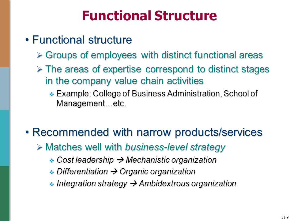 example of organic structure company Hi casey, i personally believe that having an organic structure is better than mechanistic structure in an organization this is because in an organic structure, there is a much verbal communication between employees and they usually work together to coordinate tasks.