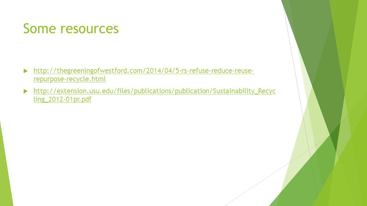 Some resources http://thegreeningofwestford.com/2014/04/5-rs-refuse-reduce-reuse- repurpose-recycle.html.