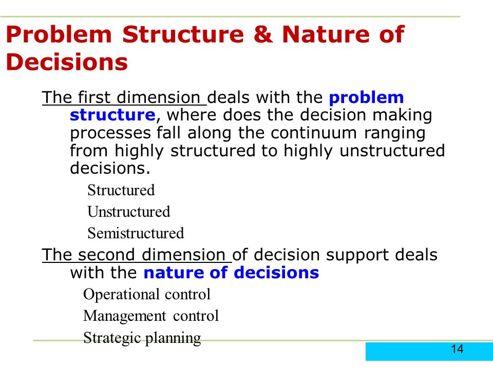 structured and unstructured problems Programmed decisions usually relate to structured problems while non- programmed decisions are taken to solve unstructured problems it is also to be  noted.