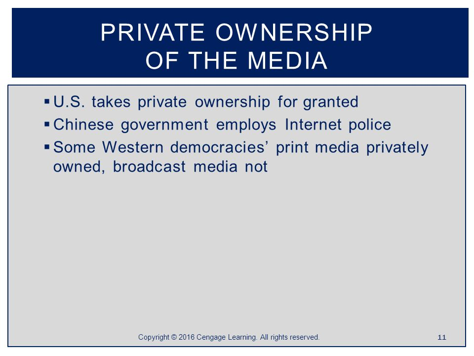 ownership of the media and its Due to the loosening of ownership restrictions, more and more media outlets are falling under the control of a few giant corporations, a tendency called media consolidationthe hearst, knight ridder, and gannett corporations own most of the nation's newspapers, whereas clear channel communications owns many radio stations.