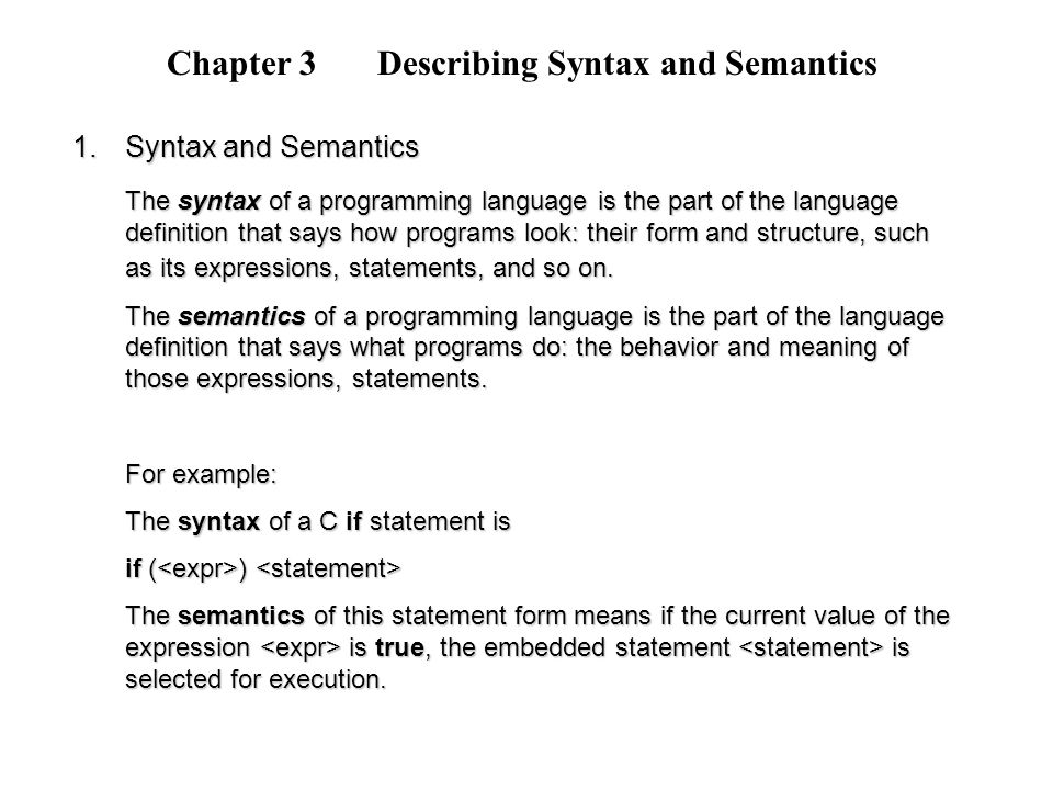 Chapter 3 Describing Syntax and Semantics - ppt video online download