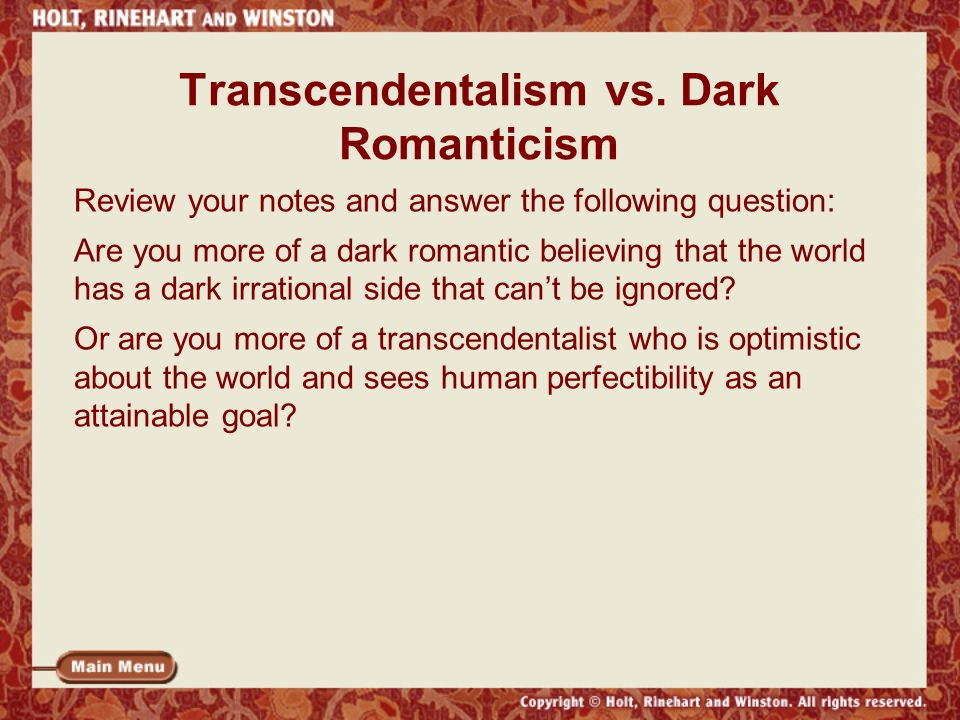transcendentalism vs anti transcendentalism Romanticism vs transcendentalism romanticism and transcendentalism are  closely related however, there are certain concepts that are.
