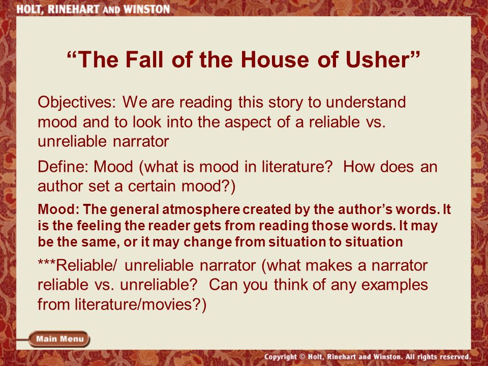 an analysis of the fall of the house of usher