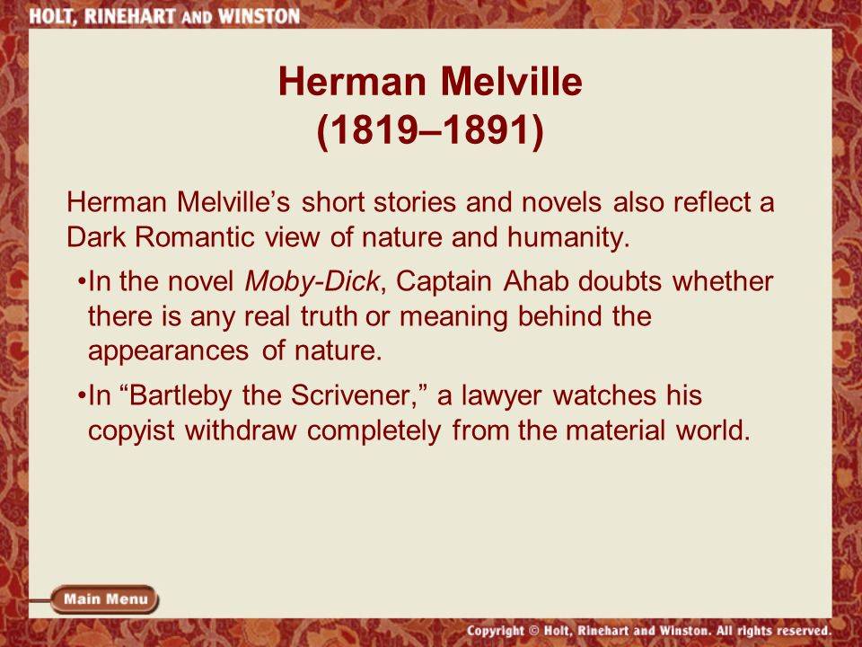 the lawyer in bartleby the scrivener a short story by herman melville This month's selection is bartleby, the scrivener by herman melville  bartleby, the scrivener, a story that's  bartleby is narrated by a lawyer in new york.