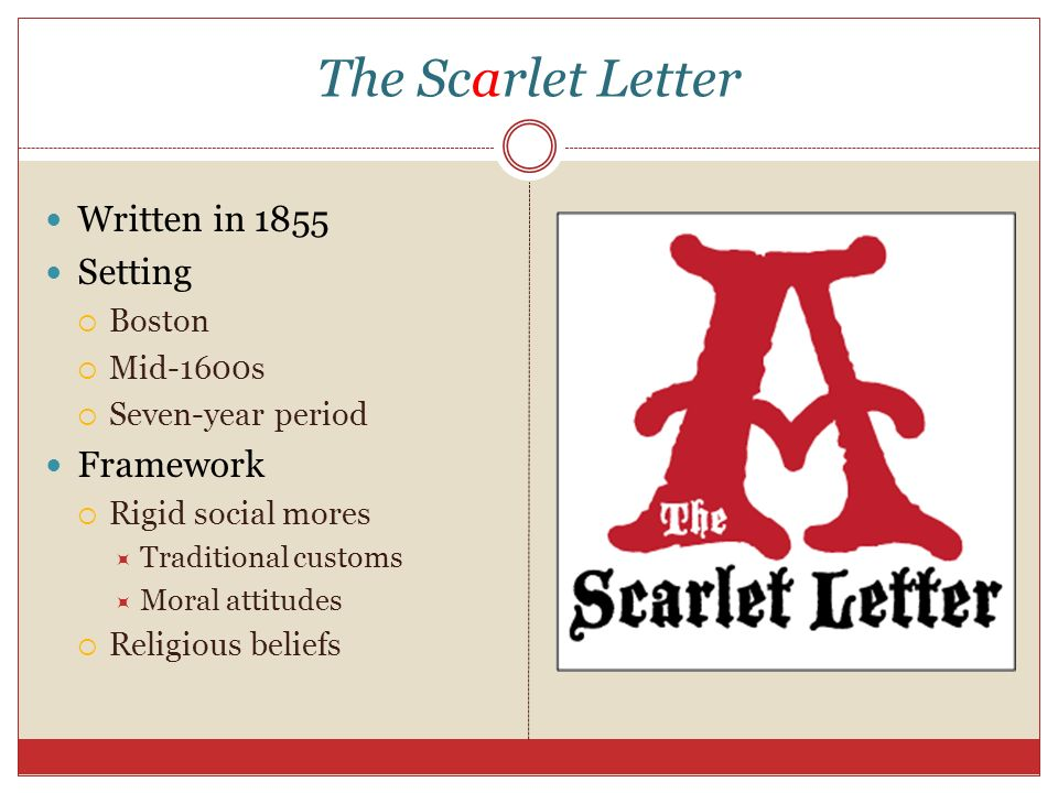 The Scarlet Letter Takes Place In