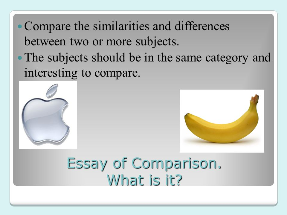 elements of comparative essay What is a comparative essay a comparative essay asks that you compare at least two (possibly more) items these items will differ depending on the assignment you might be asked to compare a comparison essay assignment will usually ask you to compare and contrast the elements of texts since.