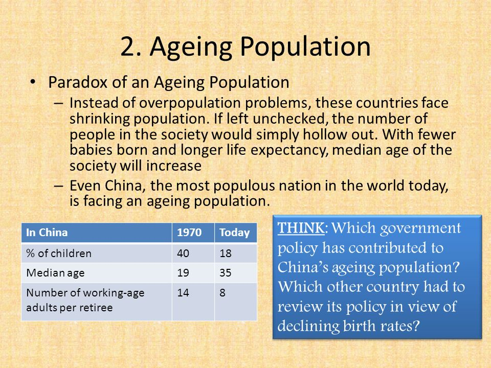 what are the problems of an aging population