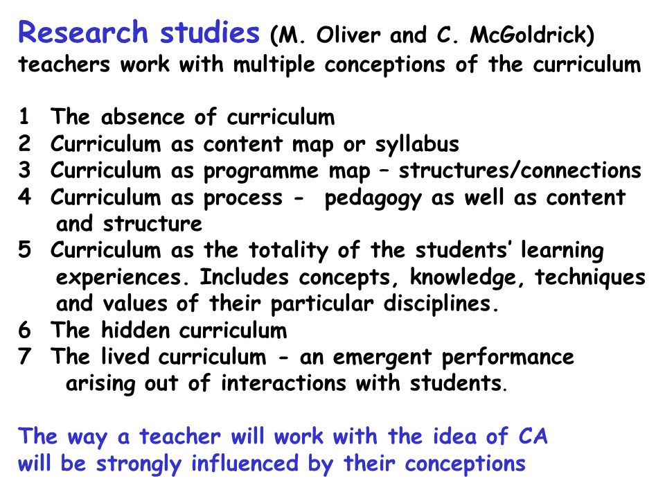 Research studies (M. Oliver and C. McGoldrick)