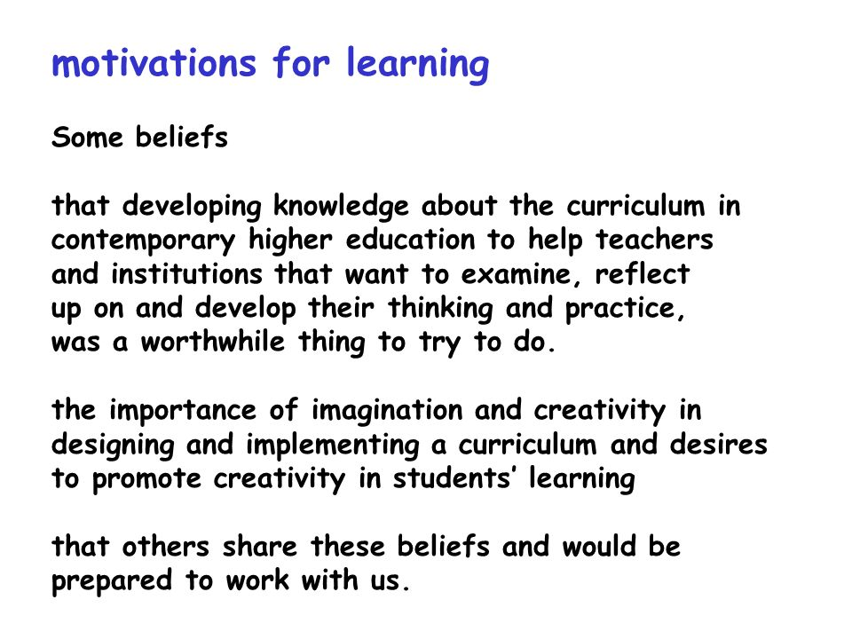 motivations for learning