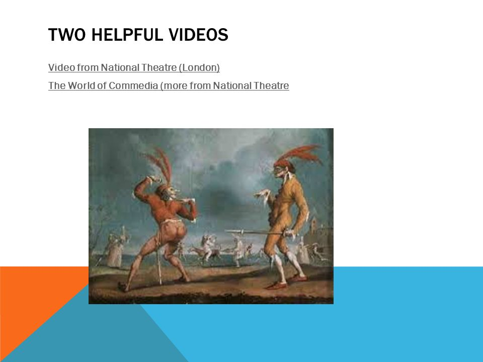 Two helpful videos Video from National Theatre (London) The World of Commedia (more from National Theatre
