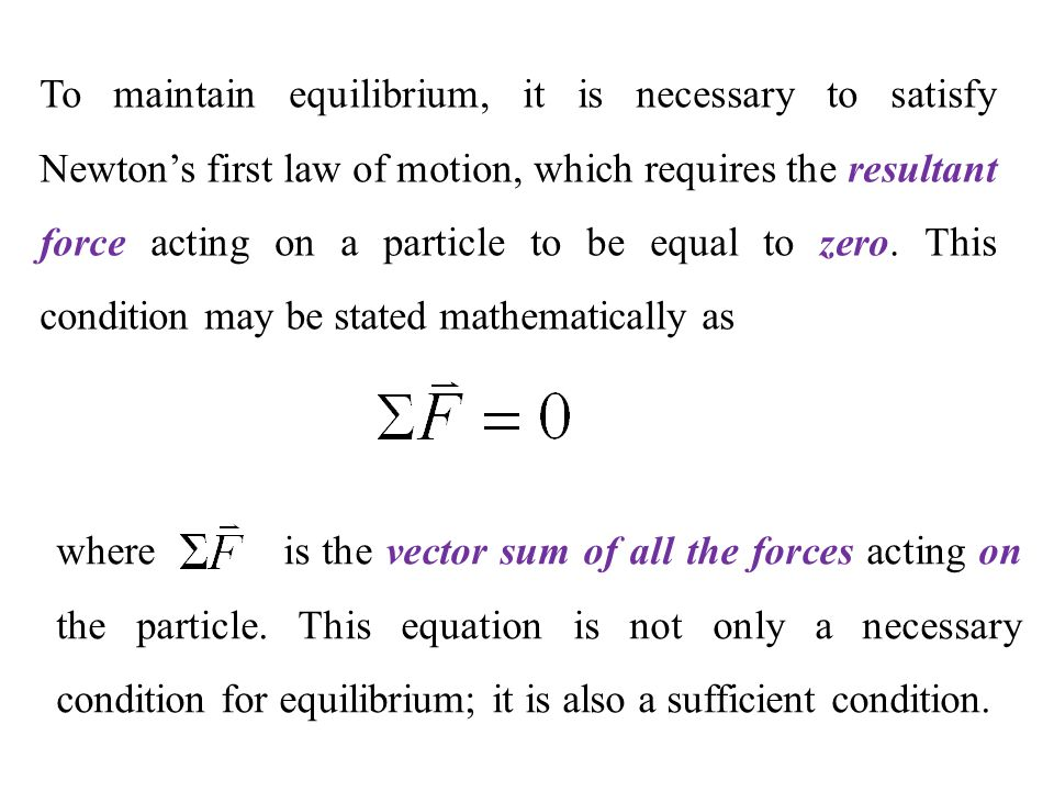 how to solve particle equilibrium equations