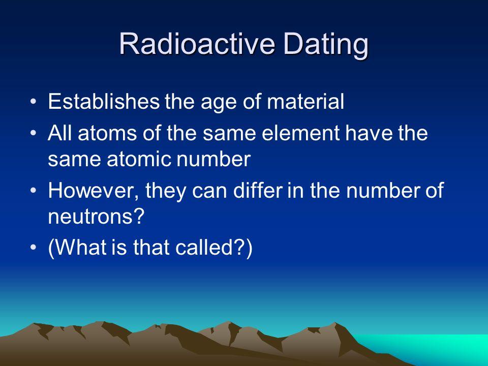 Radioactive age dating