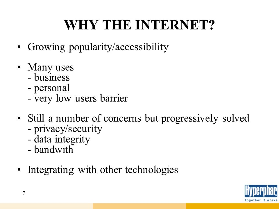 WHY THE INTERNET Growing popularity/accessibility