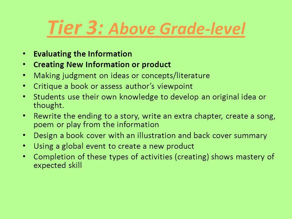 Tier 3: Above Grade-level